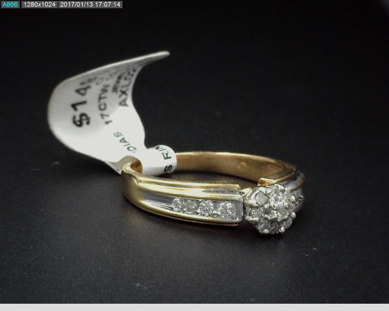 LADYS 10KYG DIAMOND CLUSTER RING APX.54C.T.W SZ7.25 3.5G