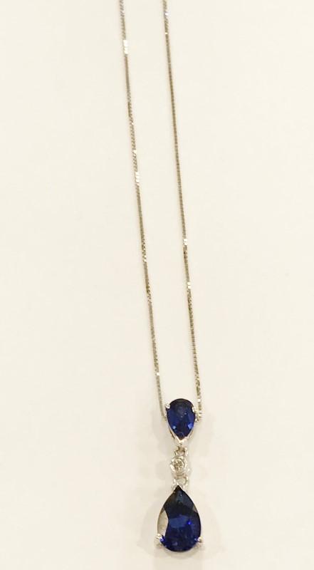 Sapphire & Diamond Pendant .02 CT. 10K White Gold 1.92g