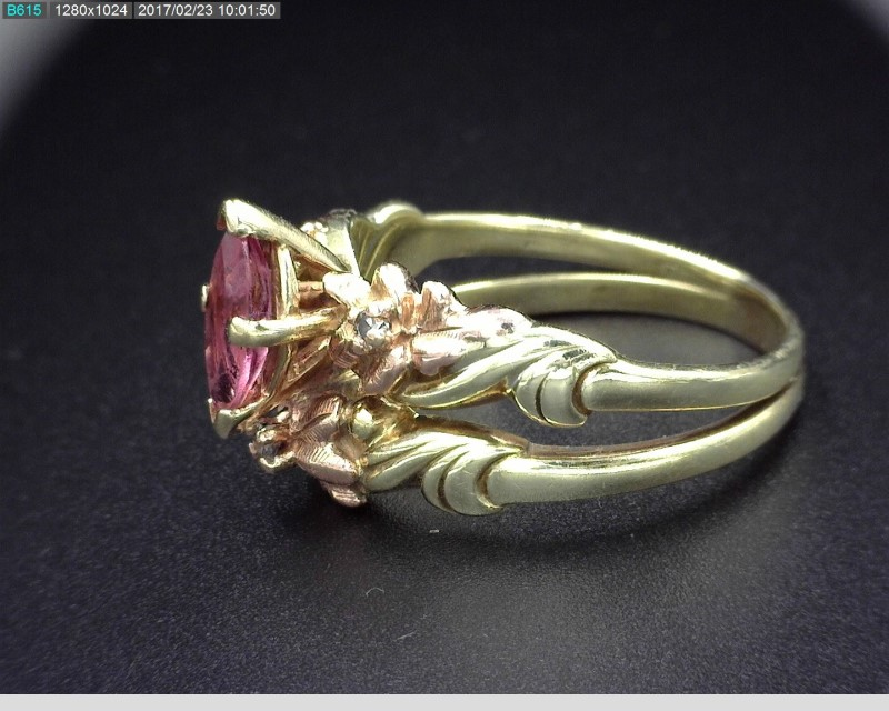 BLACK HILLS GOLD SOLDERED SET RING W PINK STONE 6 1G SZ 7 Pre