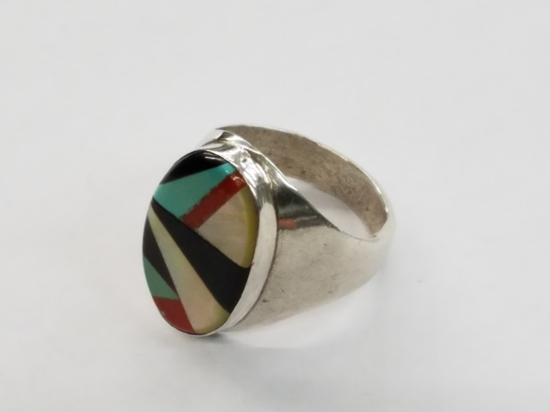 """TURQUOISE CORAL MOP ONYX ? """"ZUNI STYLE"""" RING 925 STERLING MULTICOLORED SIZE # 15"""