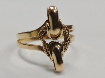 18K Yellow Gold Split Shank Equestrian Horse Lasso Knot Statement Ring Size 7