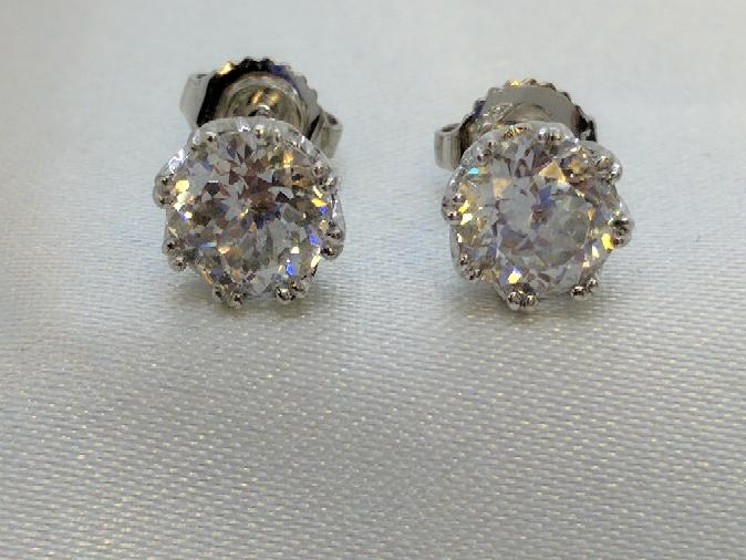 Cubic Zirconia Silver Stud Earrings