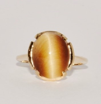 Cats Eye Crysoberyl Lady's Stone Ring 10K Yellow Gold 2.8g