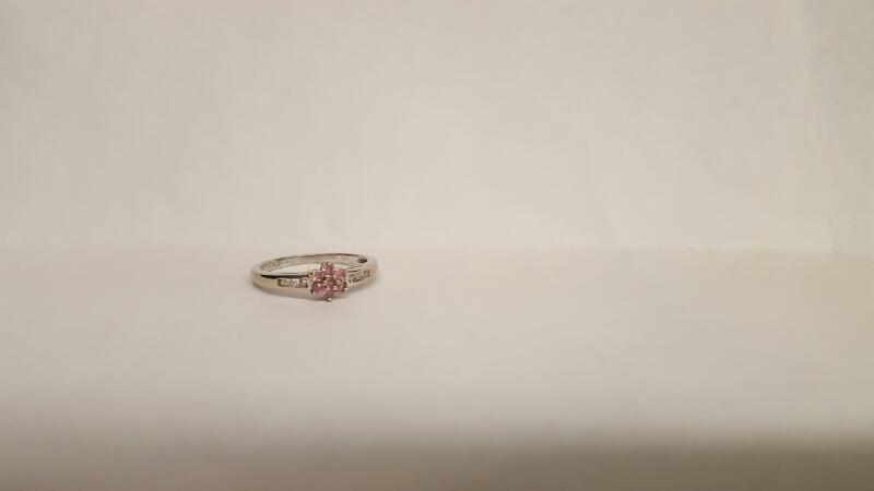Pink Stone Lady's Stone & Diamond Ring 6 Diamonds .12 Carat T.W. 10K White Gold
