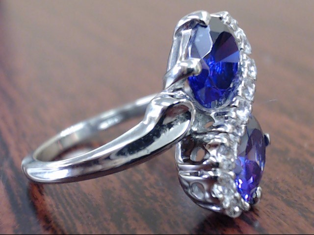 TWIN OVAL AMETHYST & CZ BYPASS RING REAL 10k WHITE GOLD 3.8g SIZE 6