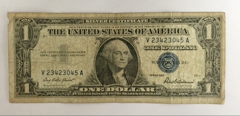UNITED STATES Paper Money $1.00 1957 SILVER CERTIFICATE