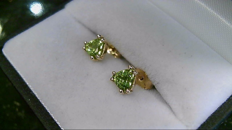 August Birthstone Peridot Trillion 14K Yellow Gold Stud Earrings