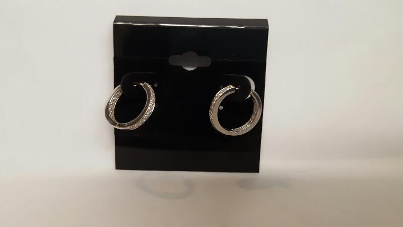 Gold-Diamond Earrings 44 Diamonds .44 Carat T.W. 14K White Gold 3.63g