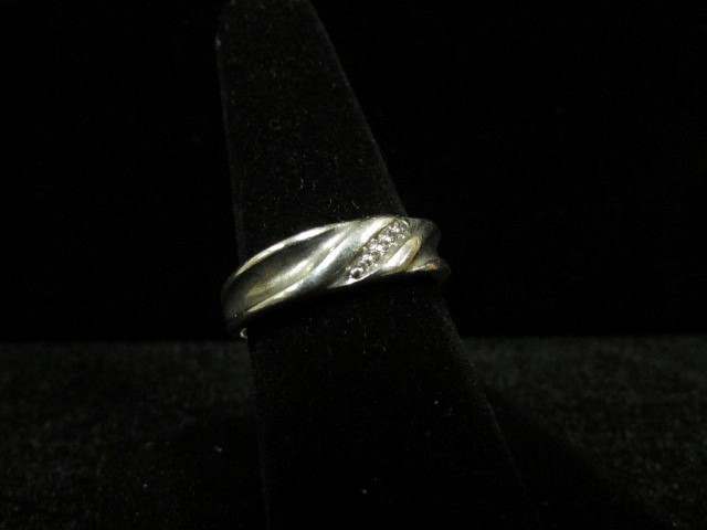 Gent's Silver-Diamond Ring 5 Diamonds .05 Carat T.W. 925 Silver 5g Size:9.5