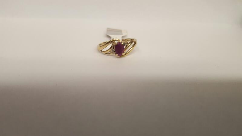 Red Stone Lady's Stone & Diamond Ring 2 Diamonds .02 Carat T.W. 10K Yellow Gold