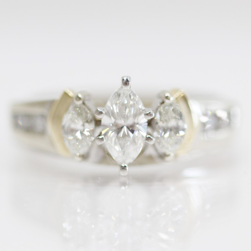 14K 2-Tone Marquise & Round Brilliant Diamond Wedding Ring Set