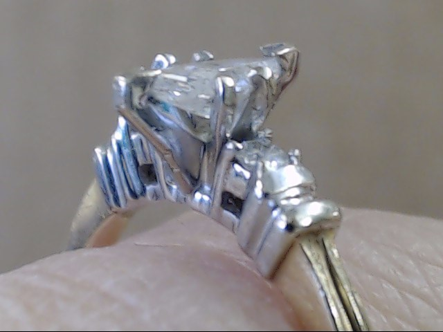 ESTATE MARQUISE NATURAL DIAMOND ENGAGEMENT WED RING 14K GOLD SZ 7.25