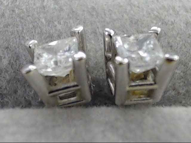 ZEI PRINCESS CUT NATURAL DIAMOND .24tcw STUD EARRINGS 10k WHITE GOLD