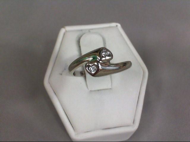 Lady's Diamond Fashion Ring 2 Diamonds .02 Carat T.W. 14K White Gold 3.43g