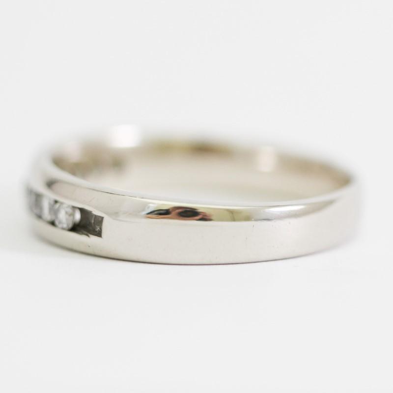 14K White Gold Channel Set Diamond Wedding Band Size 10