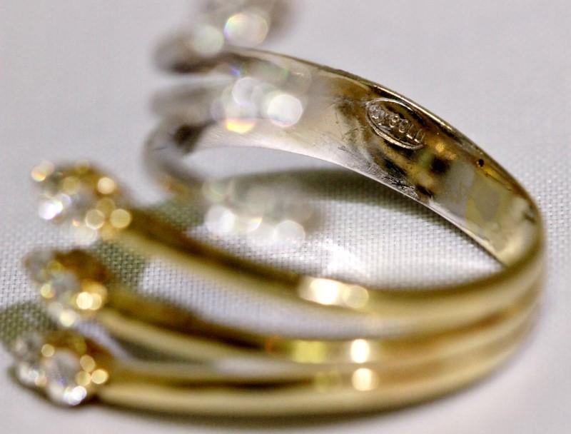 10K Two Tone Yellow/White Gold Triple Split Shank CZ Wrap Cocktail Ring sz 8