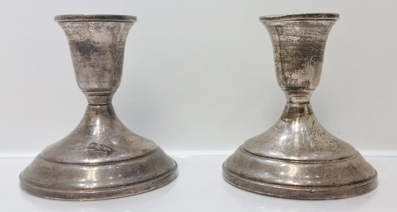 Vintage Towle 50 Sterling Silver Weighted Pair of Candle Holder Sticks