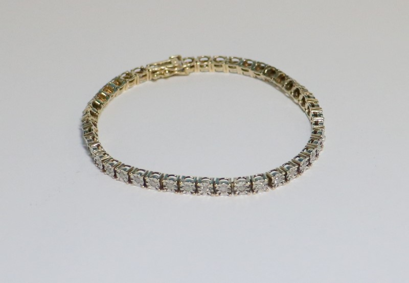 Gold-Diamond Bracelet 44 Diamonds .44 Carat T.W. 10K Yellow Gold 10.9g