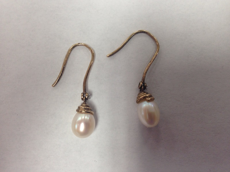 Pearl Gold-Stone Earrings 14K Yellow Gold 3g