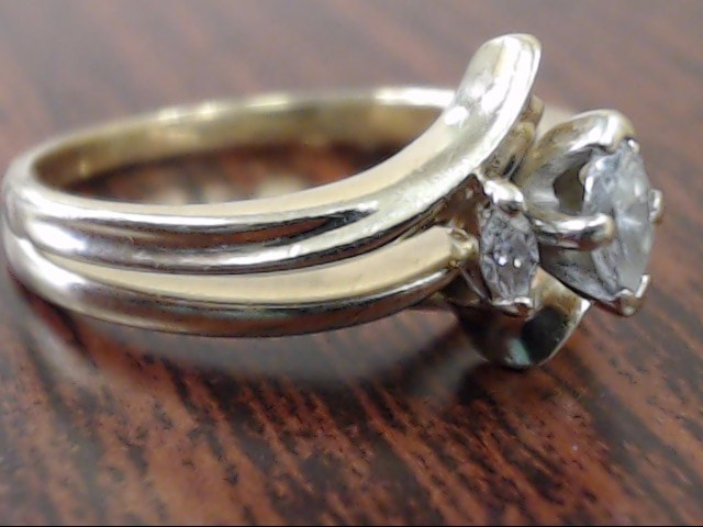 3 MARQUISE NATURAL DIAMOND .22 CTW WEDDING SET RING 14K GOLD SZ 6.5
