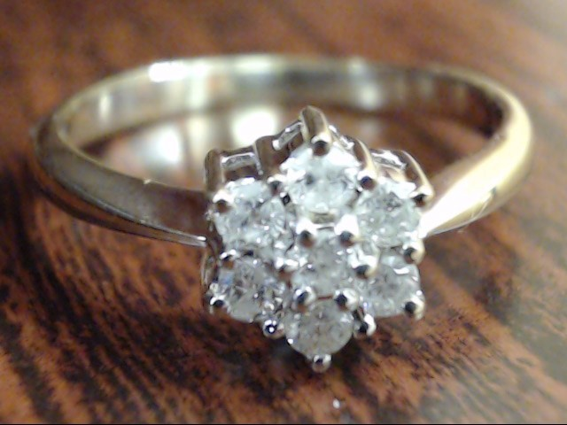 NATURAL 7 DIAMOND 0.21 CTW CLUSTER RING REAL 14K GOLD 2.3g SIZE 6.5