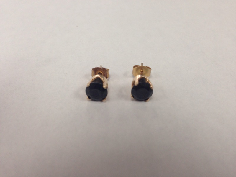 Synthetic Sapphire Gold-Stone Earrings 14K Yellow Gold 1.3g