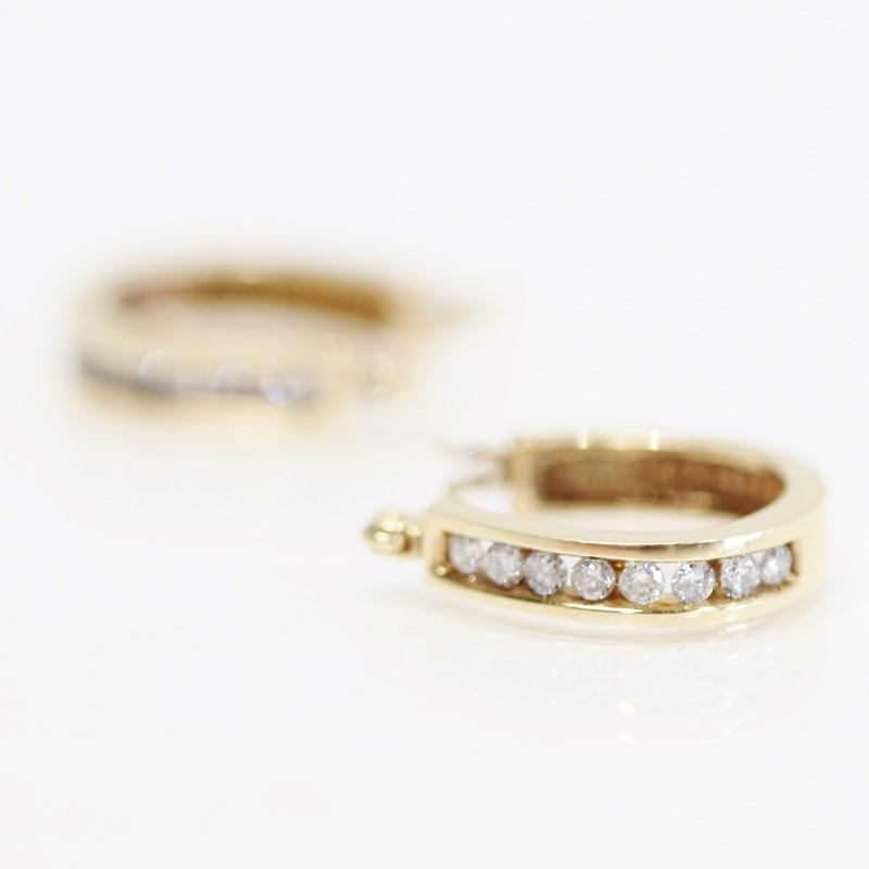 14K Yellow Gold Channel Set Round Brilliant Diamond Loop Earrings