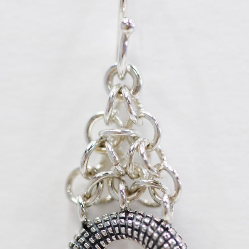 Cluster Sterling Silver Loop Fish Hook Earrings