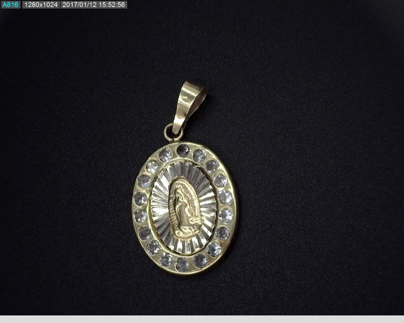 OUR LADY OF GUADALUPE CUBIC ZIRCONIA PENDANT 10KYG 3.1G
