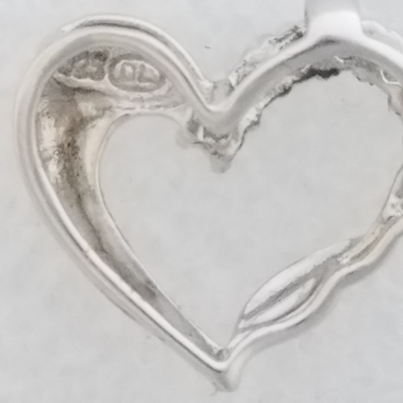 925 Sterling Silver Funky Open Twisted Heart Slide Pendant w/ Natural Emeralds