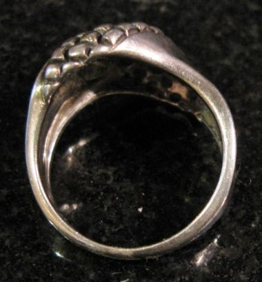 STERLING RING WITH KNOBBY DIAGONAL DESIGN, SIZE 8.5