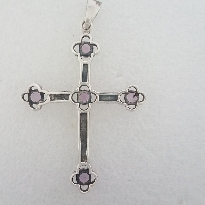 Sterling Silver Vintage Inspired Amethyst & Marcasited Budded Cross Pendant