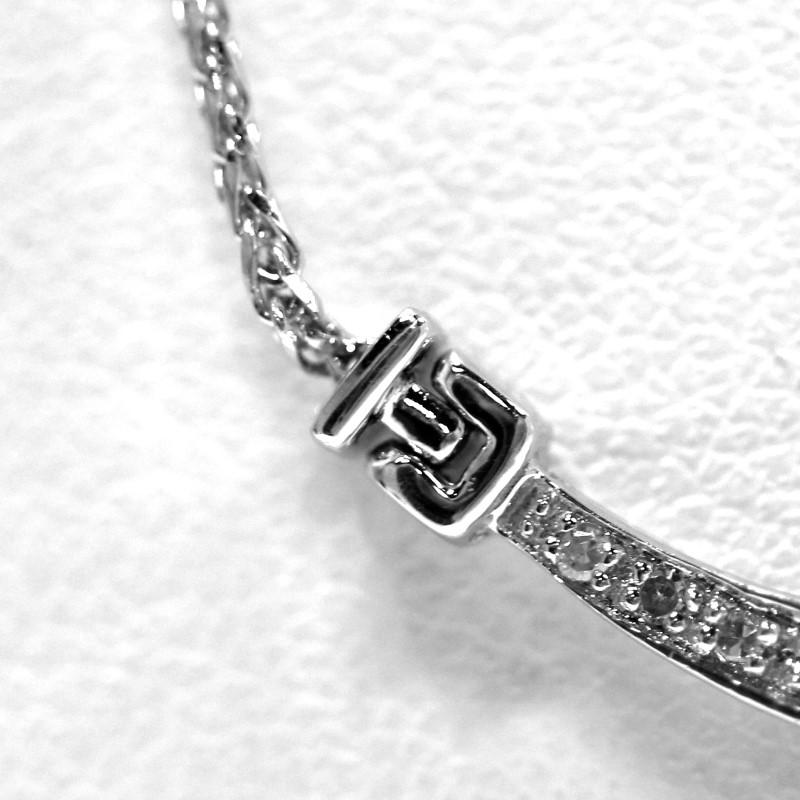 14K White Gold Aquamarine and Diamond Drop Necklace