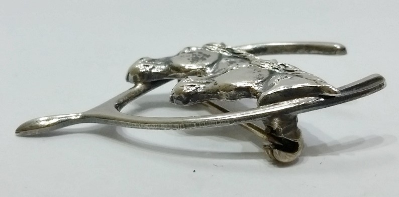 Vintage Beau Sterling Silver Equestrian Double Horse Head & Wishbone Brooch Pin