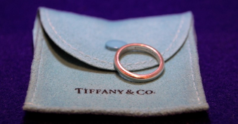 Tiffany & Co Silver Blue Enamel Ring Size 5
