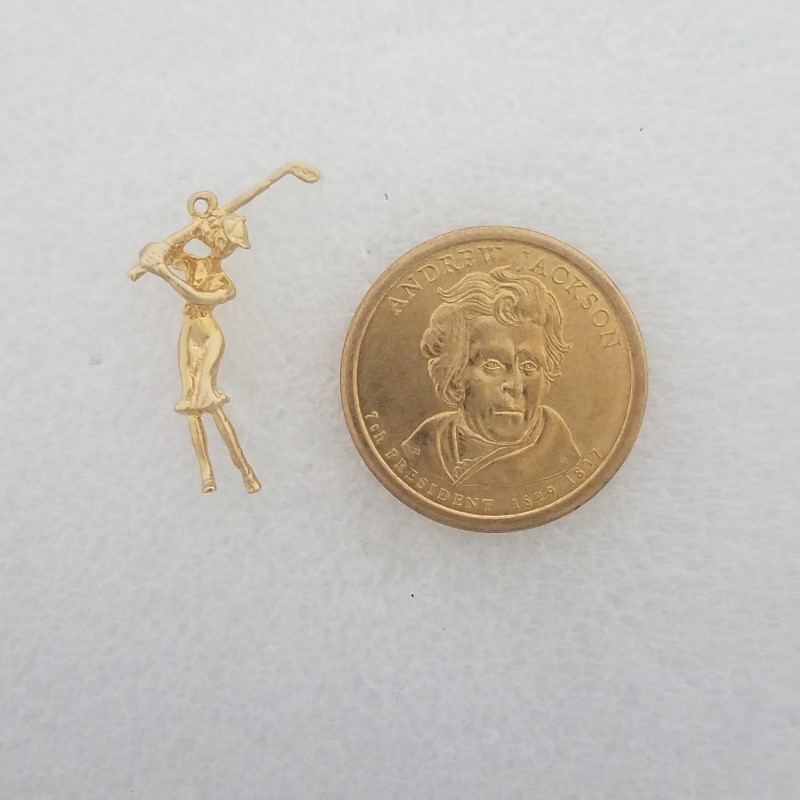 14K Yellow Gold Solid 3D Woman Lady Golfer Teeing Off Driver Dangle Charm