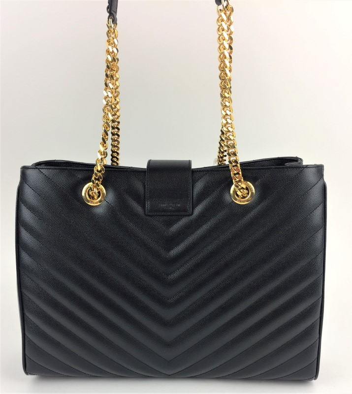 YVES SAINT LAURENT MONOGRAM GRAINED LEATHER SHOPPER