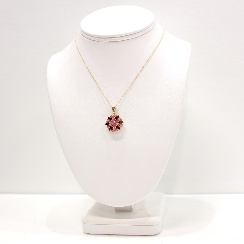"19"" Floral Almandite Garnet Stone Cluster Necklace 14K Yellow Gold"