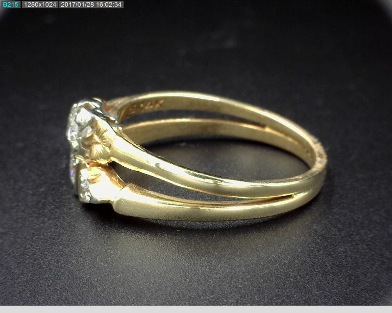 LADY'S VINTAGE DIAMOND WEDDING SET APX.13CTW 14KYG SZ.7 3.4G