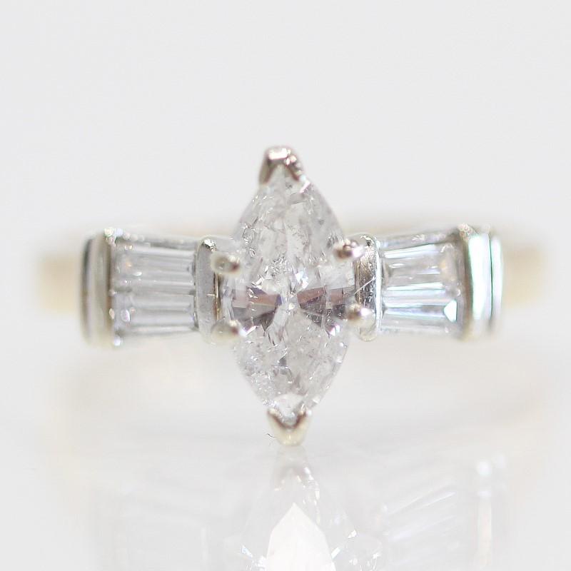 14K 2-Tone Marquise & Baguette Diamond Engagement Ring Size 5.5