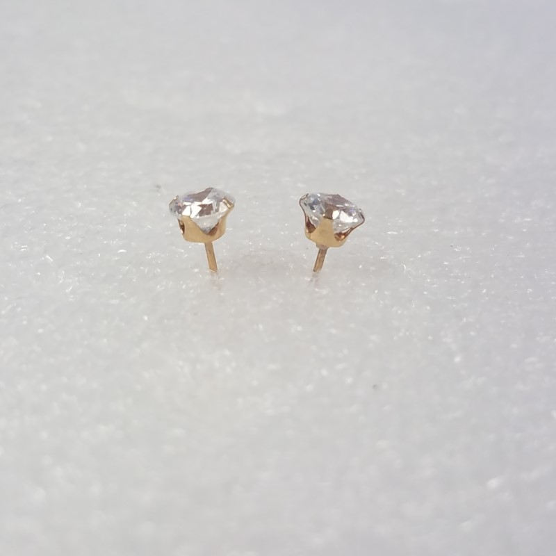 14K Yellow Gold Round Brilliant Cut Cubic Zirconia CZ Solitaire Stud Earrings