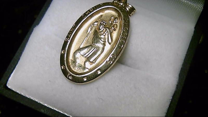 14K Yellow Gold St Christopher Medal Charm Pendant