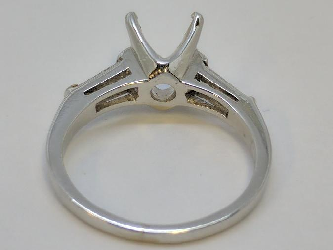 Lady's Platinum-Diamond Ring Mount 2 Diamonds .20 Carat T.W. 950 Platinum