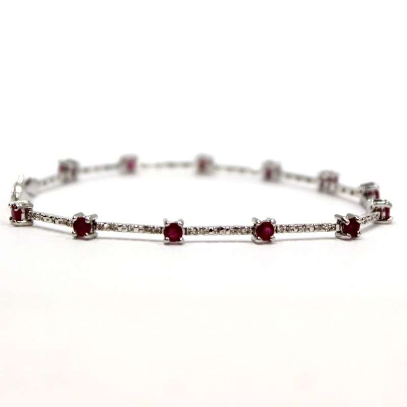 10K White Gold Round Cut Ruby Bracelet