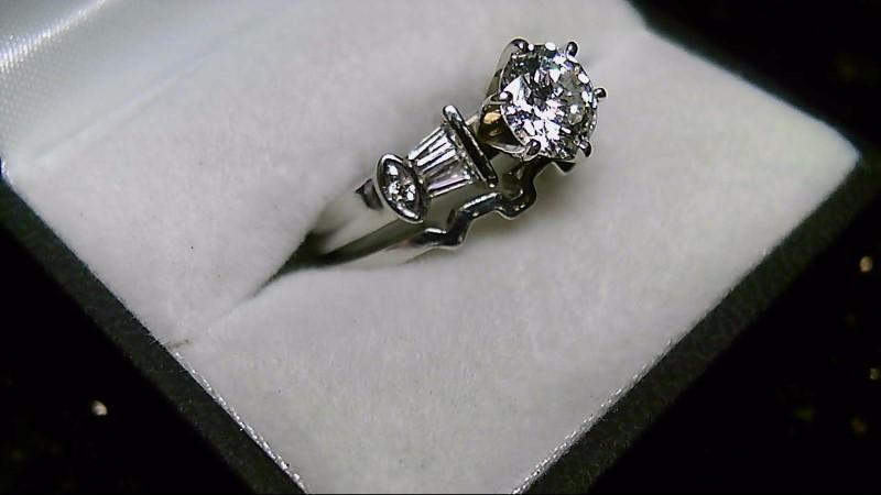 14K White Gold Diamond Round Baggette Wedding Set