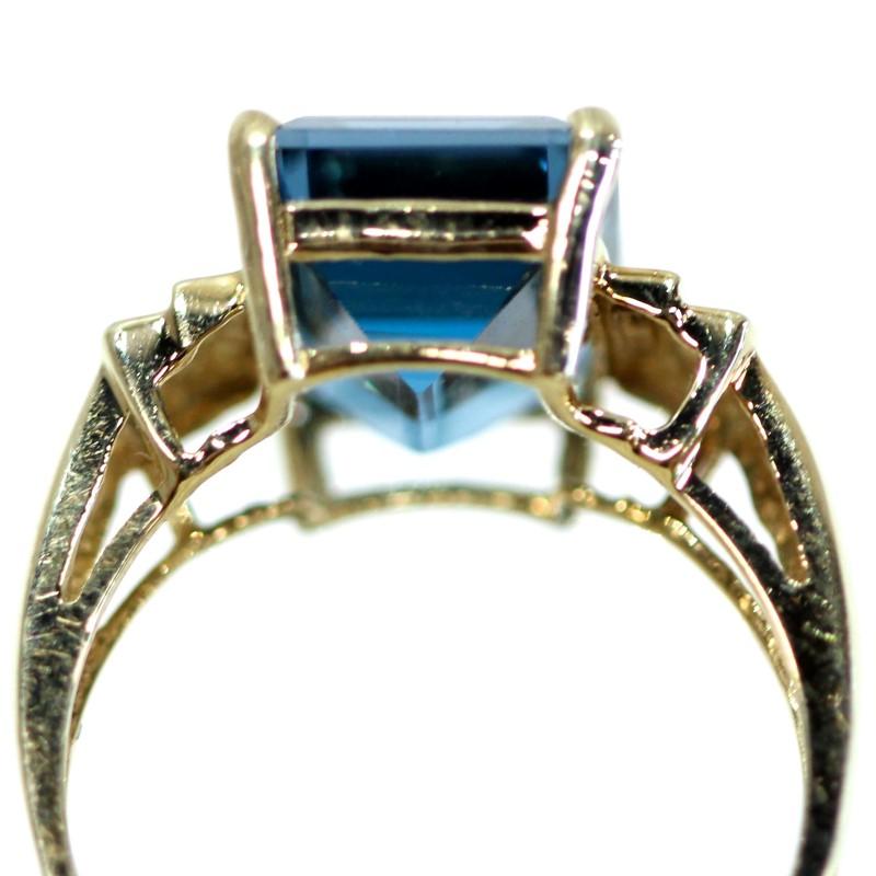 Vintage Inspired 10K Y/G Emerald Cut Blue Topaz Ring Size 9.75