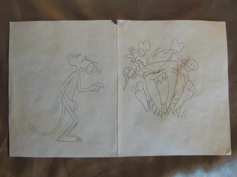Original Pink Panther Animation Cel with Pencil Sketch Matted & Framed