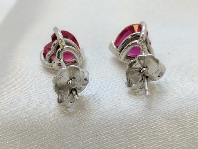 Red Hearts set in 14k Stud Earrings