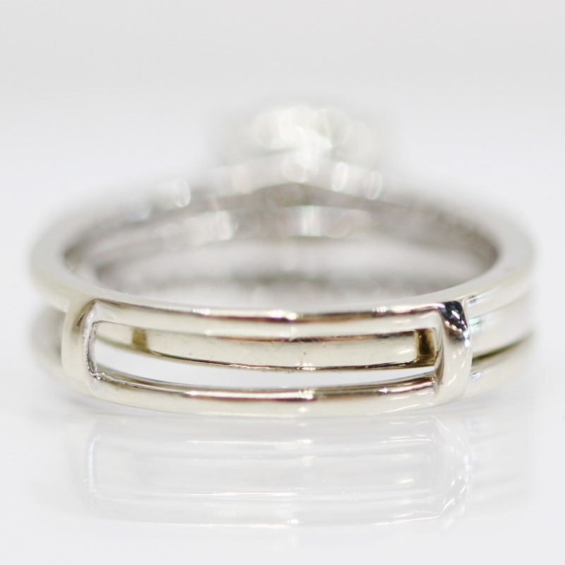 14K White Gold Halo Set Round Diamond Cluster & Channel Ring Set
