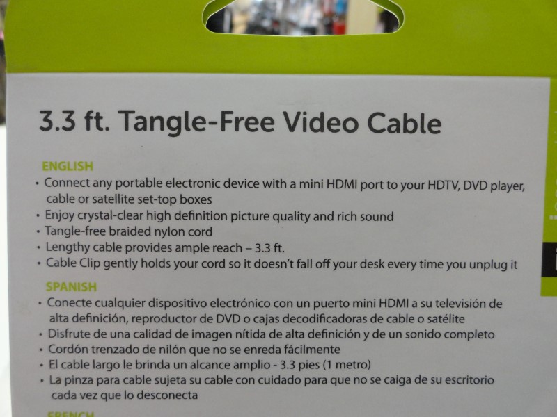 iEssentials 3.3FT Tangle-Free Video Cable HDMI to Mini HDMI